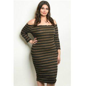 """Shimmy"" Olive Stripe Knit Off Shoulder Midi Dress"